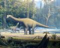 Europasaurus holgeri rekonstruált képe (iguanodonokkal).