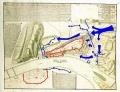 A szemben álló hadtestek pozíció foglalásának térképe